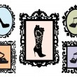 Shoe silhouettes in antique frames, vector set — Stock Vector