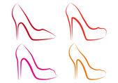 High heel shoes, vector set — Stock Vector