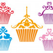 Set of cupcake designs, vector — Stock Vector