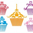 Stock Vector: Set of cupcake designs, vector