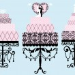 Stock Vector: Wedding and birthday cakes, vector