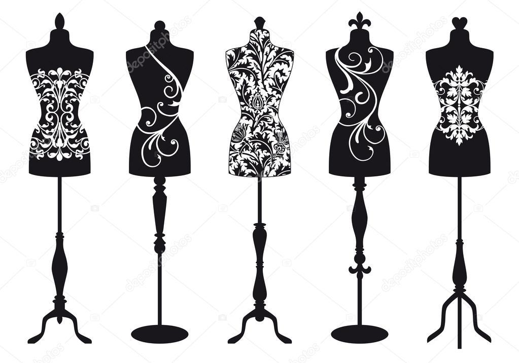 Fashion mannequins, vector set — Stock Vector © beaubelle #12619977: depositphotos.com/12619977/stock-illustration-fashion-mannequins...