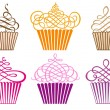 Stok Vektör: Set of cupcakes, vector