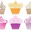Stock Vector: Set of cupcakes, vector