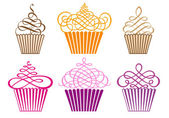 Set of cupcakes, vector — Stok Vektör