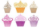Uppsättning av cupcakes, vektor — Stockvektor