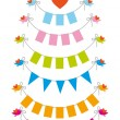 Bunting flags with birds, vector set — Stock Vector