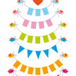 Bunting flags with birds, vector set — Imagen vectorial