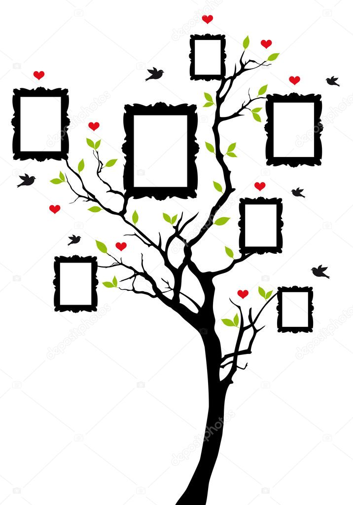 Family tree with picture frames, vector background illustration — Stock Vector #12702863