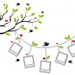 Tree with photo frames and birds, vector — Stok Vektör