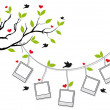Tree with photo frames and birds, vector - Stock Vector