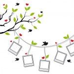 albero con cornici e uccelli, vettoriale — Vettoriale Stock