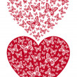 Red butterfly heart, vector — Stock vektor