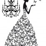 donna con farfalle, vettoriale — Vettoriale Stock