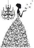 Kvinna med fjärilar, vektor — Stockvektor
