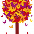 Autumn tree with butterfly leaves, vector — Stock Vector