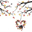 Birds on autumn tree in heart nest, vector — Imagen vectorial