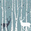 Birch trees with deer, vector background — Stok Vektör