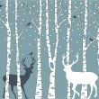 Birch trees with deer, vector background - Stock Vector