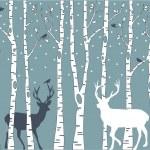 樺の木の鹿、ベクトルの背景 — Stock vektor