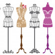Fashion mannequins, vector set — Vector de stock