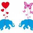 Elephant with hearts and butterflies, vector - Stok Vektr