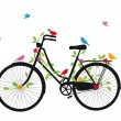 Old bicycle with birds, vector - Stok Vektr