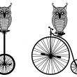 Owls with old bicycle, vector — Stock Vector