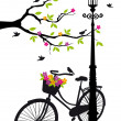 Bicycle with lamp, flowers and tree, vector - Stok Vektr