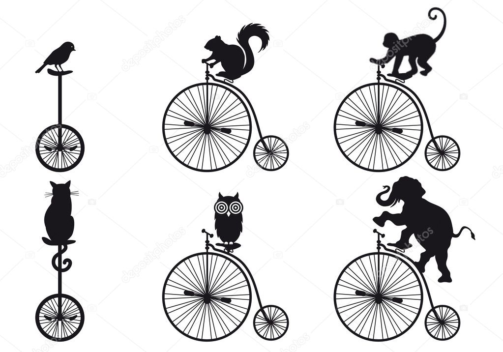 Vintage bicycle with animals, vector set — Stock Vector #13387649