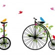 Birds on retro bicycle, vector illustration - Stok Vektr