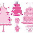 Wedding and birthday cakes, vector — Stockvektor