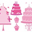 Wedding and birthday cakes, vector — Imagen vectorial