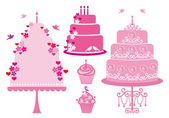 Wedding and birthday cakes, vector — Stock Vector