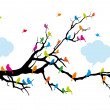 Color birds on tree, vector - Stok Vektr