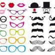 Stok Vektör: Mustache and spectacles, vector set
