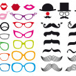 Stock vektor: Mustache and spectacles, vector set