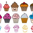 Cute cupcake designs, vector set — Stock Vector