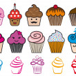 Cute cupcake designs, vector set — 图库矢量图片