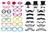 Mustasch och glasögon, vektor set — Stockvektor