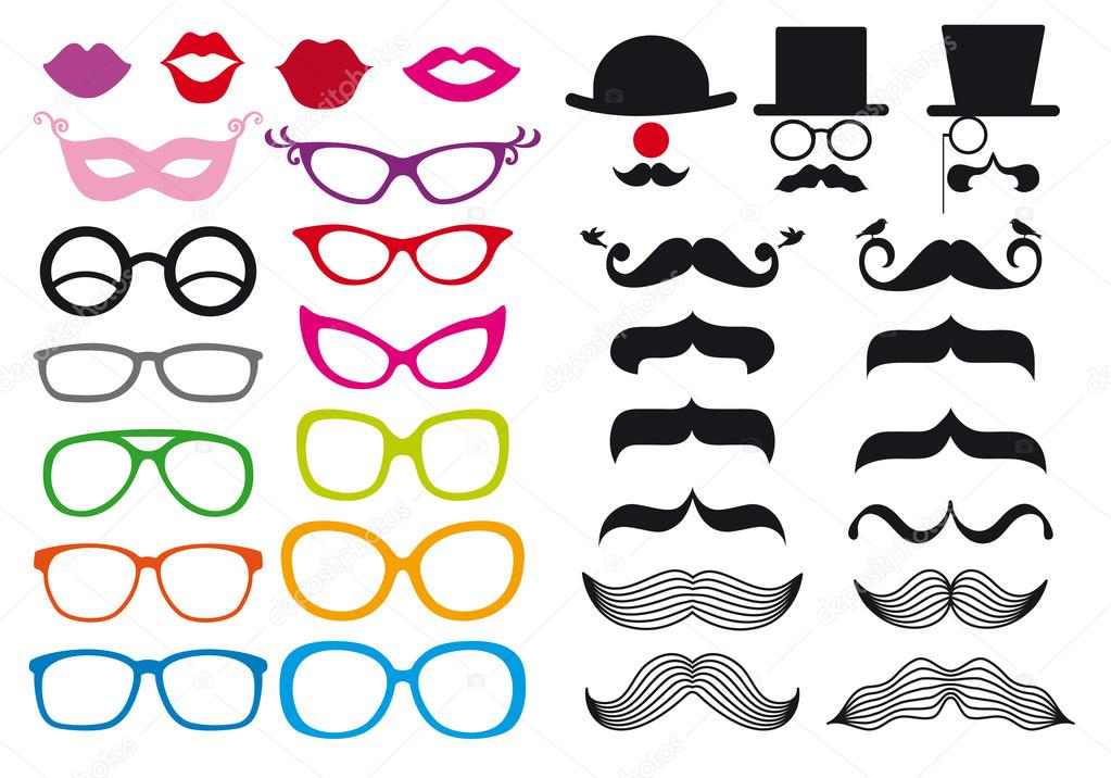 Huge set of mustache and spectacles, vector design elements — Stock Vector #13586622