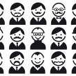 Stock Vector: Heads with mustaches, vector set