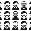 Heads with mustaches, vector set - Stok Vektr