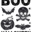 Halloween icon set with spidernet, vector — Imagen vectorial