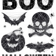 Halloween icon set with spidernet, vector — Stockvectorbeeld