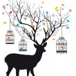 Deer with birds and birdcages, vector - Image vectorielle