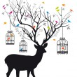 Deer with birds and birdcages, vector - Stok Vektr