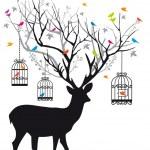 Deer with birds and birdcages, vector — Stock Vector