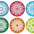 Snowflake set, vector design elements - Stok Vektr
