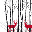 Birch trees with christmas deers, vector — Stockvectorbeeld